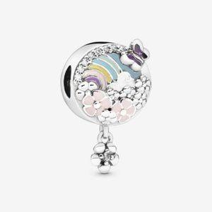 🐮Pandora Rainbow and Flower Dangle Charm